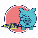 broken piggy bank, cash, coins, financial problems, piggy bank, saving account, savings icon