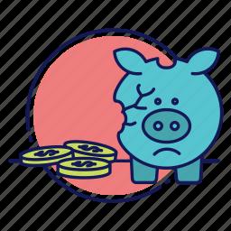 broken piggy bank, cash, coins, financial problems, piggy bank, saving account, savings icon