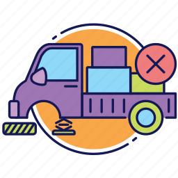 canceled order, delivery, error in delivery, lorry, order, transport, truck icon