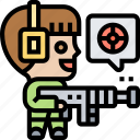 shooter, aim, target, attack, fight icon
