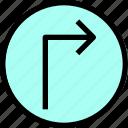 arrow, essential, menu, right, turn icon