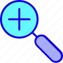 add, explore, find, glass, magnifier, research, search