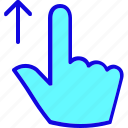 drag, finger, gesture, hand, swipe, touch, up icon