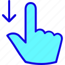 down, drag, finger, gesture, hand, tap, touch icon
