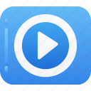continue, essentials, movie, play, video icon