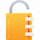 lock, protected, secure, unlock essentials icon