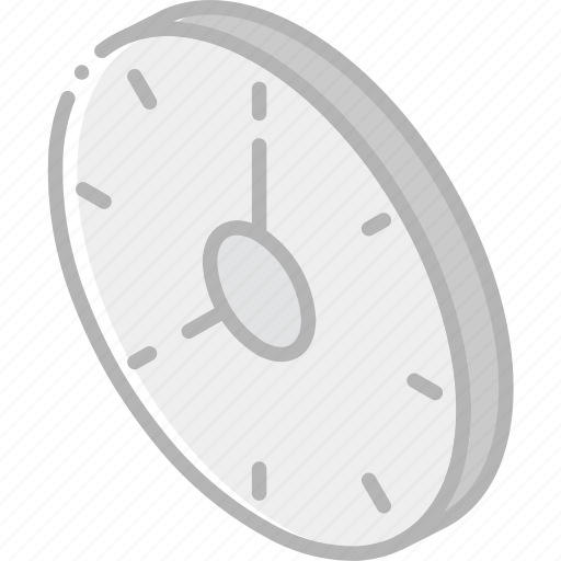 clock, essentials, iso, isometric icon