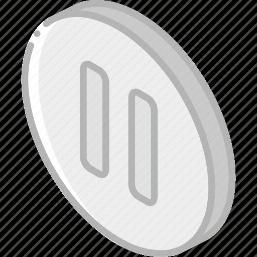 essentials, iso, isometric, pause icon