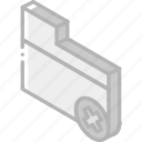 delete, essentials, folder, iso, isometric icon