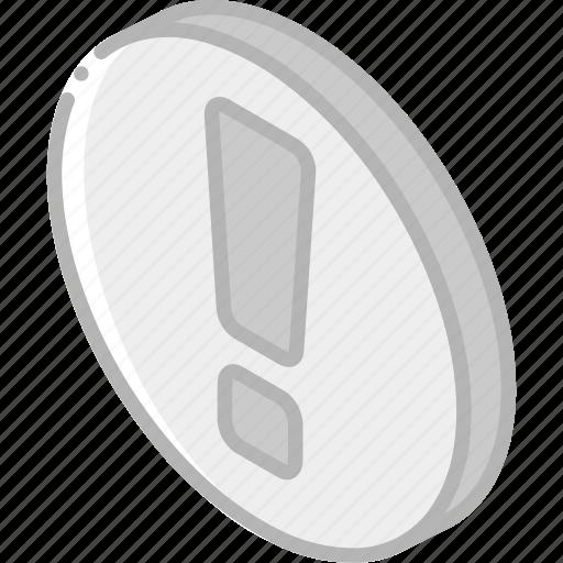 alert, essentials, iso, isometric icon