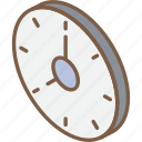 clock, essentials, iso, isometric icon