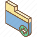 add, essentials, folder, iso, isometric icon