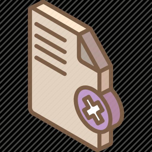 delete, document, essentials, iso, isometric icon