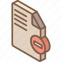delete, essentials, file, iso, isometric icon