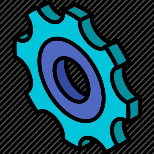 cog, essentials, iso, isometric icon