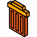 essentials, iso, isometric, trash icon