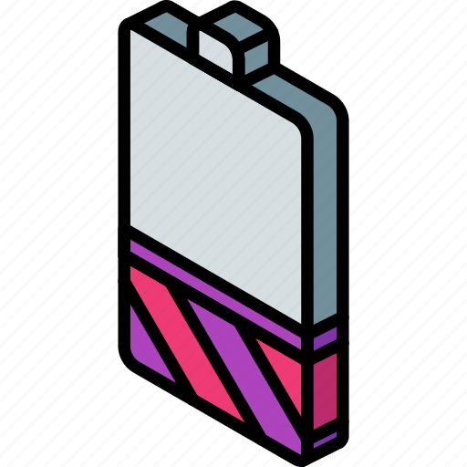 battery, essentials, iso, isometric, low icon