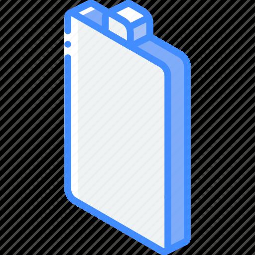 battery, empty, essentials, iso, isometric icon