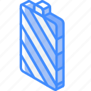 battery, essentials, full, iso, isometric icon