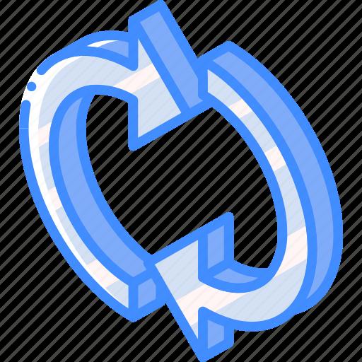 essentials, iso, isometric, refresh icon
