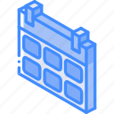 calendar, essentials, iso, isometric icon