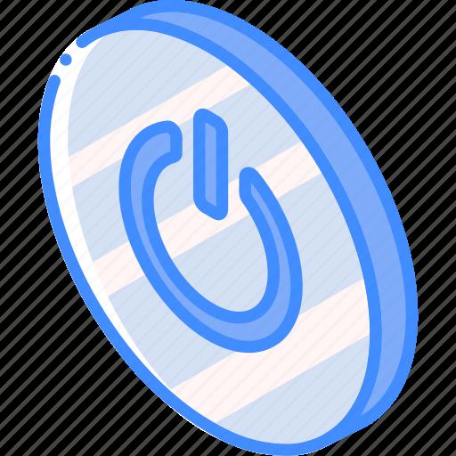 essentials, iso, isometric, power icon