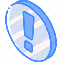 alert, essentials, iso, isometric icon