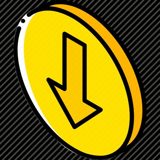 down, essentials, iso, isometric icon