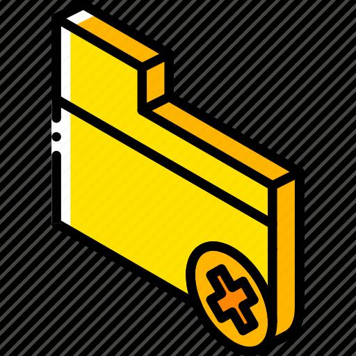delete, essentials, folder, iso, isometric icon