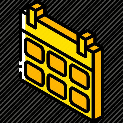 calendar, essentials, iso, isometric icon