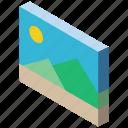 isometric, graphic, iso, essentials icon