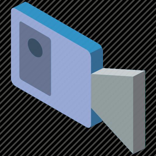 camera, essentials, iso, isometric icon