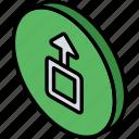 essentials, iso, isometric, upload icon