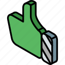 essentials, iso, isometric, thumbs, up icon