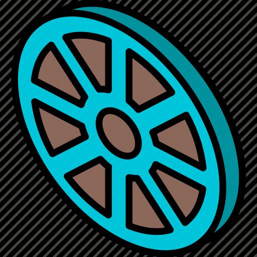 essentials, iso, isometric, movie, reel icon
