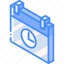 essentials, iso, isometric, schedule icon