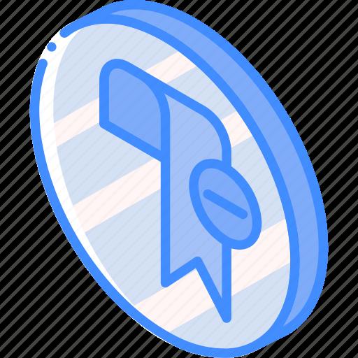 bookmark, essentials, iso, isometric, remove icon