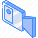 camera, essentials, iso, isometric icon