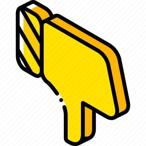 down, essentials, iso, isometric, thumbs icon
