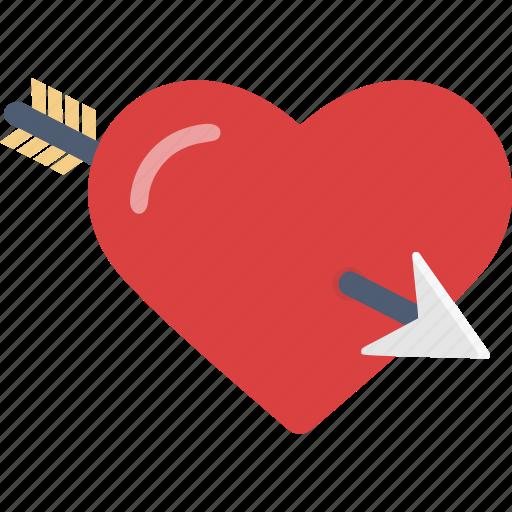 arrow, heart, love, romance, valentine icon