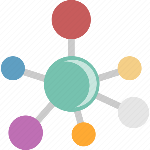 Network, hub, media, connection, social, communication icon