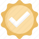 badge, check, gold, verified icon