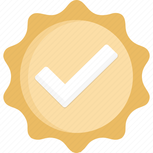 Badge, verified, check, gold icon