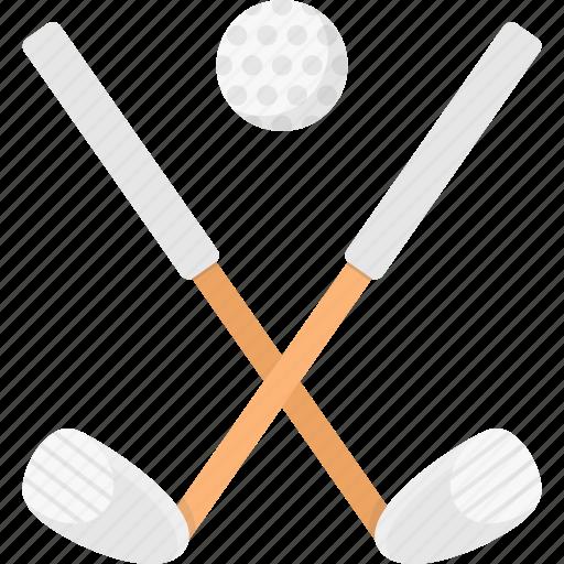 ball, clubs, gold clubs, golf, golf ball icon
