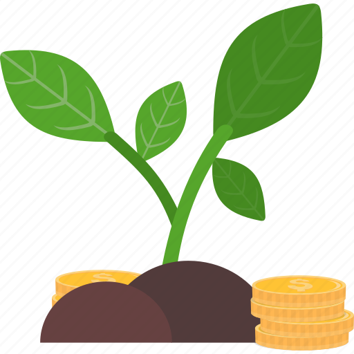 Coins, growth, plant, business, finance, marketing, money icon - Download on Iconfinder