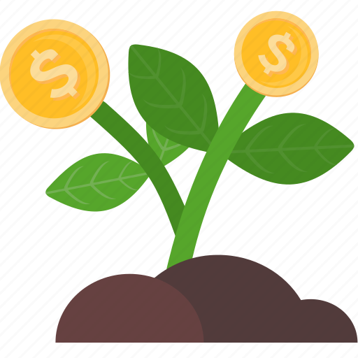 business, coins, finance, growth, marketing, money, plant icon