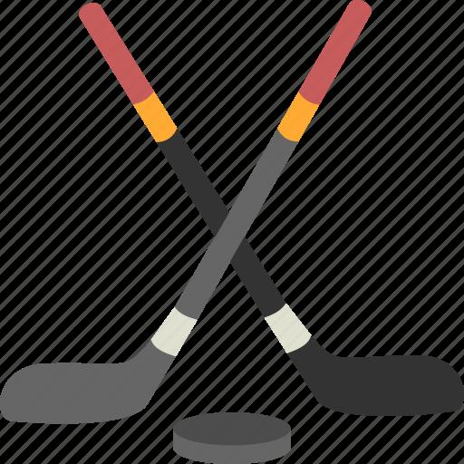 hockey, puck, sports, sticks icon