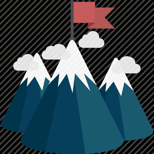 Mountains, flag, peak icon
