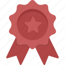 achievement, award, prize, red ribbon, ribbon, star, winner icon