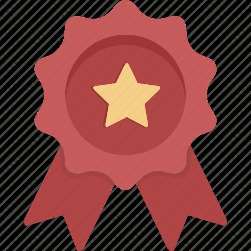 achievement, award, prize, red ribbon, ribbon, star, winner icon